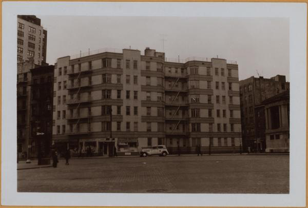 1940 Eighth Avenue, (left) east side, north from Hudson Street (foreground), showing the bandstand silhouetted against a new 6-story apartment house. The latter is on Bleecker Street, between the Avenue and Bank Street (right). Irrespective of this, it will bear an Abingdon Square number. To the left is the 16-story apartment house, No. 20 Abingdon Square, located at the S. E. corner of 8th Avenue and W. 12th Street.  View 2 is limited to first mentioned feature. The dark 5-story dwelling at the left is No. 4 Abingdon Square.  May 12, 1940 April 9, 1940  P. L. Sperr (from www.oldnyc.org)