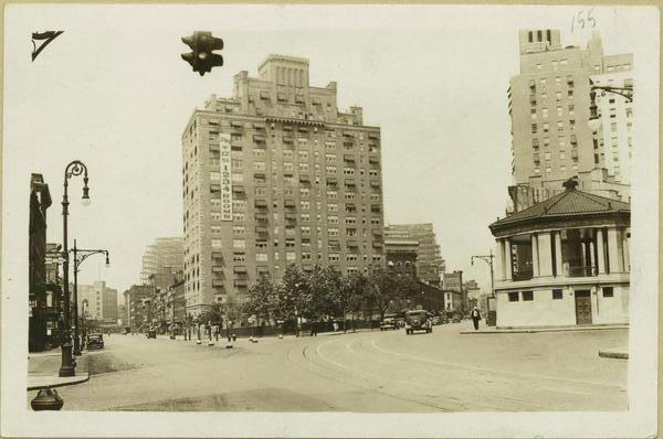 1932; 1938 (1) Abingdon Square, looking north from Hudson Street at Bank Street, where Eighth Avenue branches off to the right.  New apartment buildings, 299 West 12th Street on north side of square, and building at S.E. corner of Eighth Avenue and 12th Street. Behind bandstand is vacant lot where Abingdon Hotel has been demolished.  March 15, 1932. P. L. Sperr, Photographer.  (2) The same view as No. 1 but four months later, showing in background the skeleton of Port Authority Building between Eighth and Ninth Avenues just north of 14th Street.  July 17, 1932. P. L. Sperr, Photographer. Neg #2282 (From www.oldnyc.org/#715881f-b